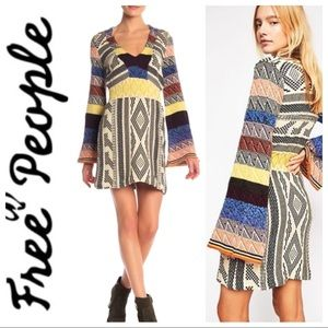 FREE PEOPLE Patchwork Bell Sleeve Sweater DRESS